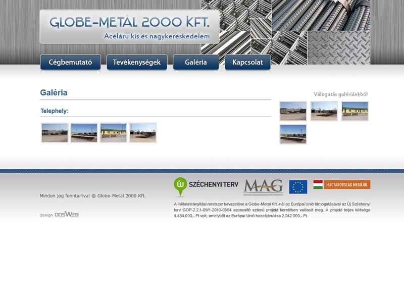 Globe-Metal 2000 Kft. bemutatkozó honlapja