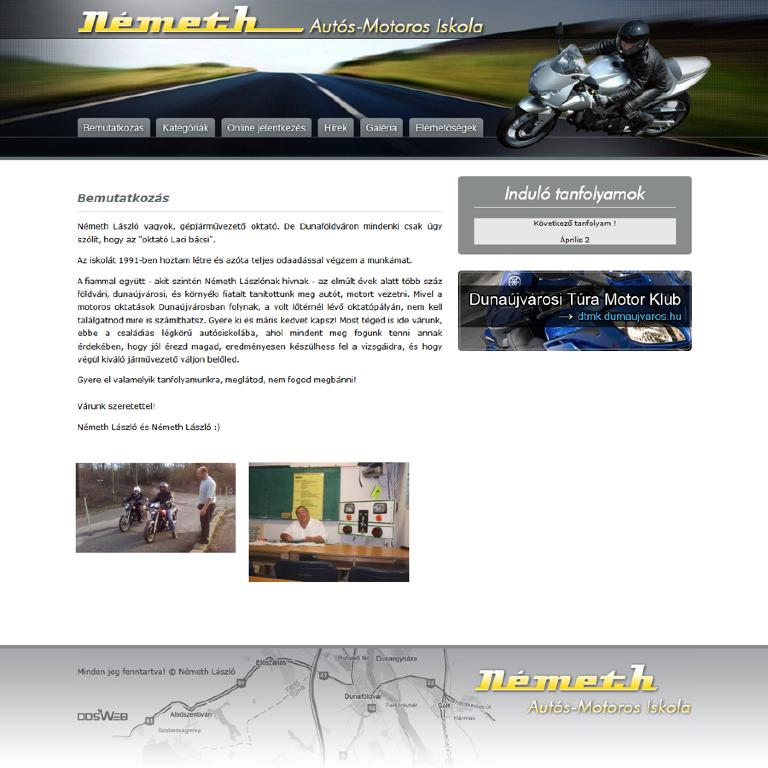 Németh László Autós és Motoros Iskola honlapja